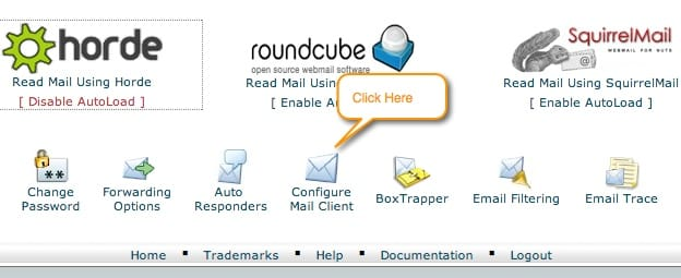 webmail configure email clicent link